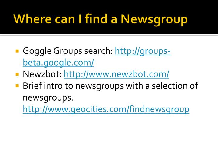 Where can I find a Newsgroup