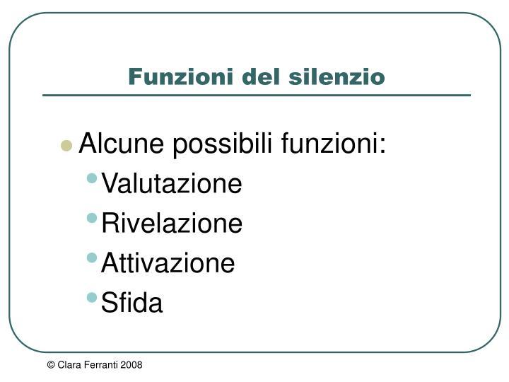 Funzioni del silenzio