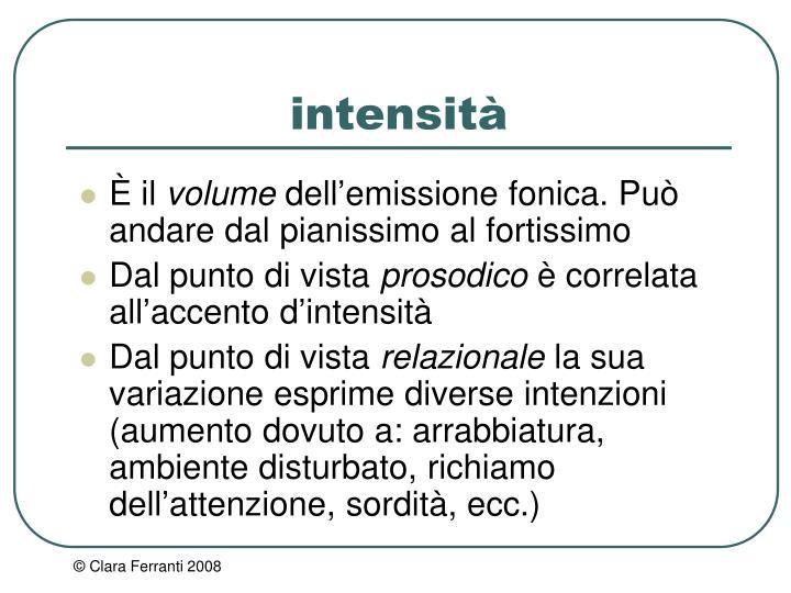 intensità