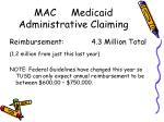 mac medicaid administrative claiming