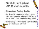 no child left behind act of 2001 idea