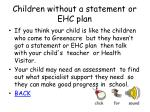 children without a statement or ehc plan