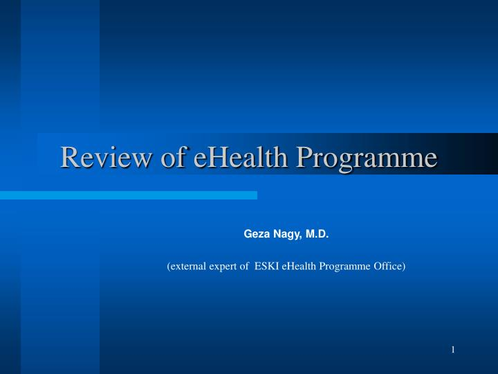 review of ehealth programme
