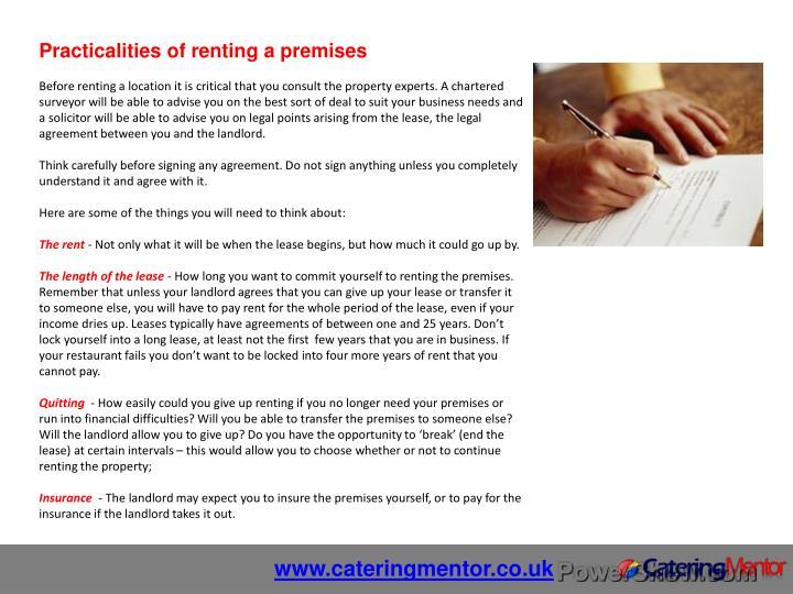 Practicalities of renting a premises