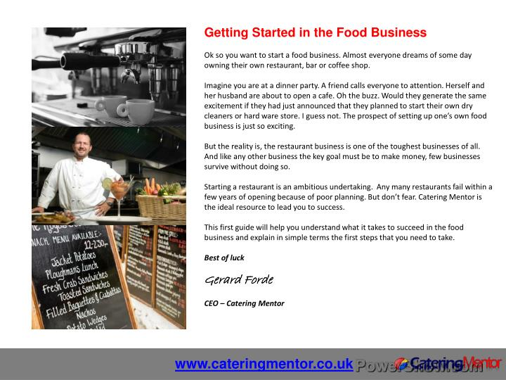 Getting Started in the Food Business