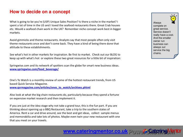 How to decide on a concept