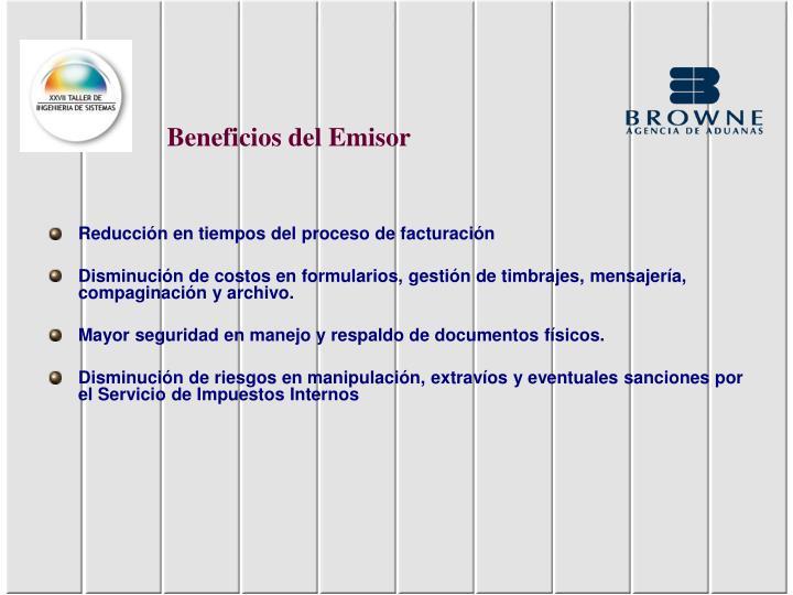 Beneficios del Emisor