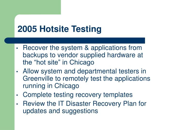 2005 Hotsite Testing
