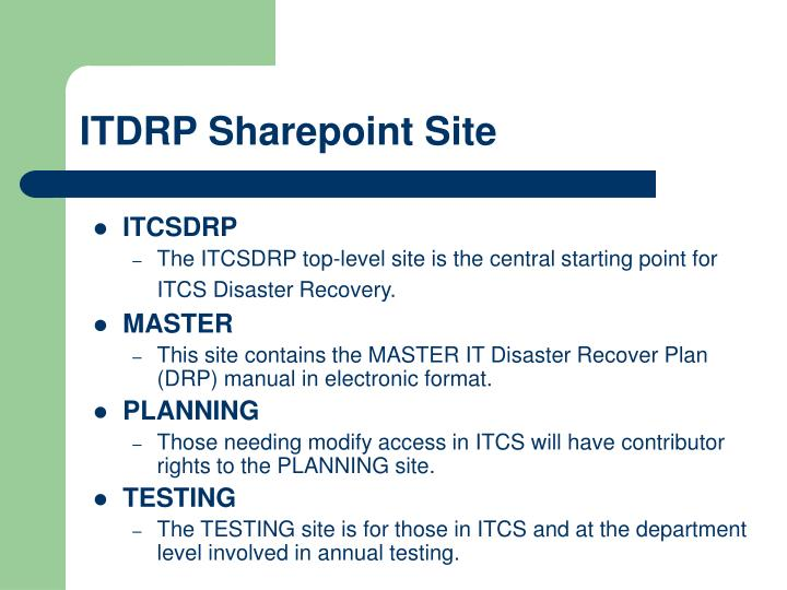 ITDRP Sharepoint Site