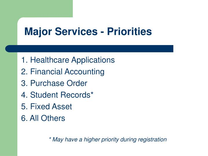 Major Services - Priorities