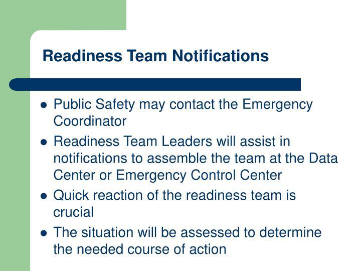 Readiness Team Notifications