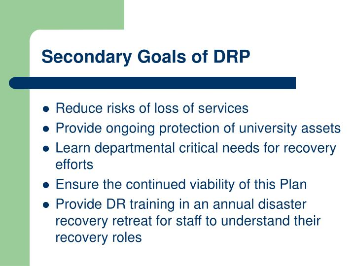 Secondary Goals of DRP
