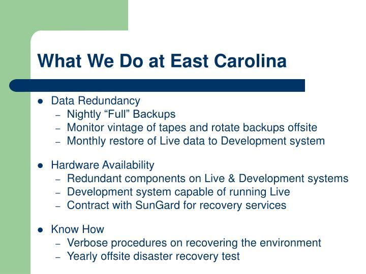 What We Do at East Carolina
