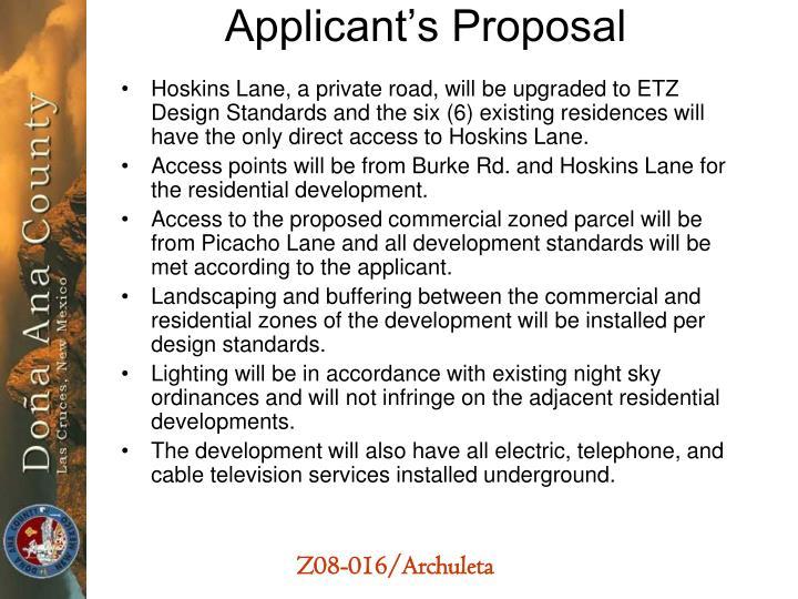 Applicant's Proposal