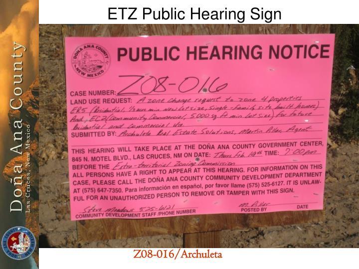 ETZ Public Hearing Sign