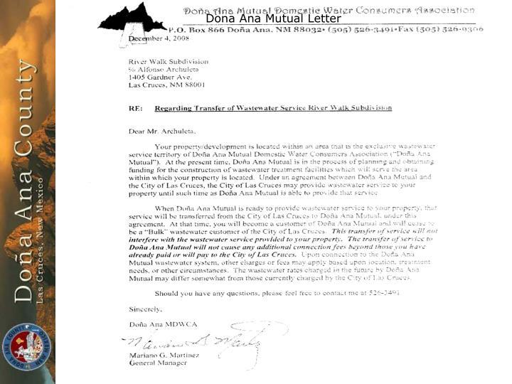 Dona Ana Mutual Letter
