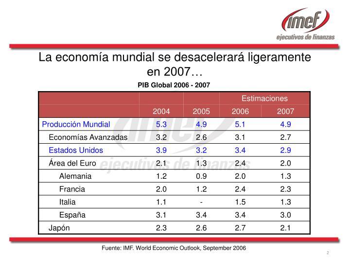 La econom a mundial se desacelerar ligeramente en 2007