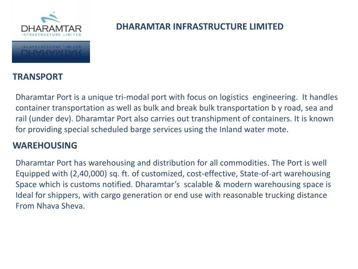 DHARAMTAR INFRASTRUCTURE LIMITED