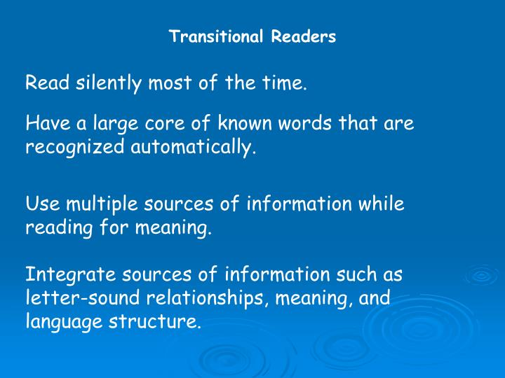 Transitional Readers