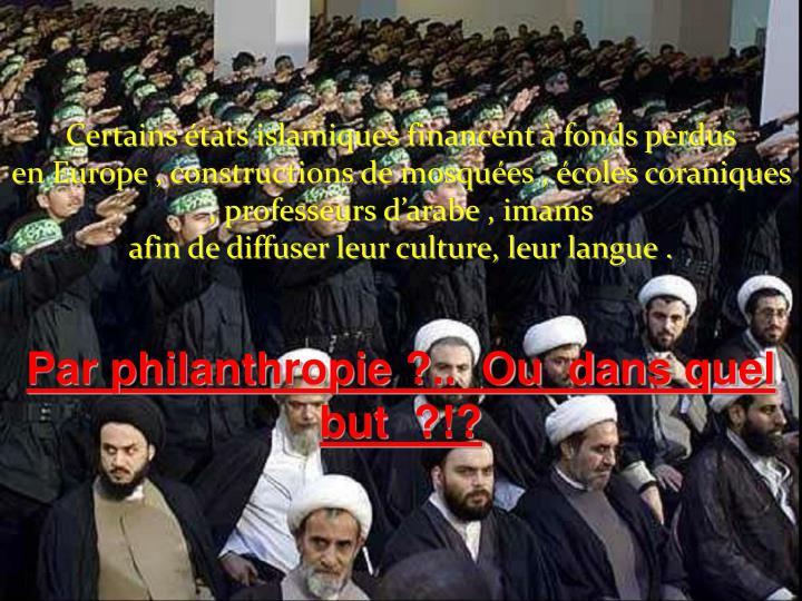 Certains états islamiques financent à fonds perdus