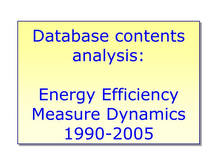 Database contents analysis: