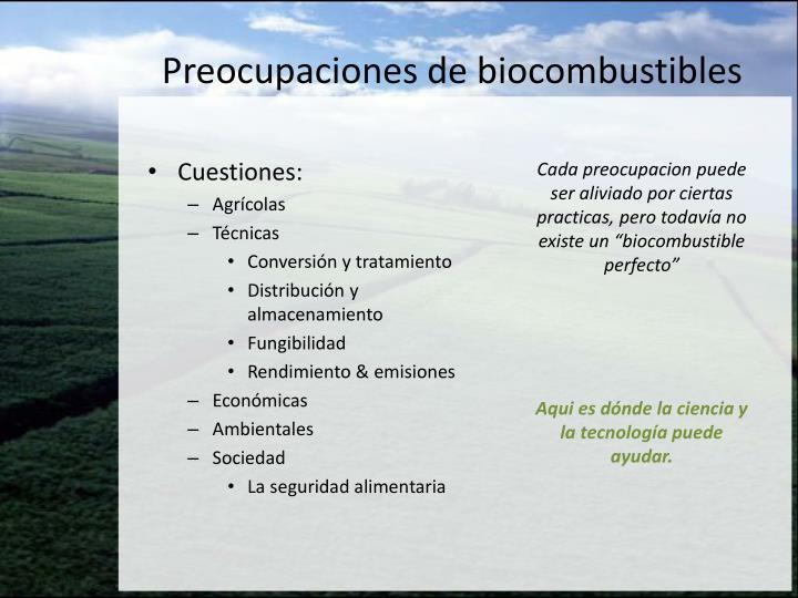 Preocupaciones de biocombustibles