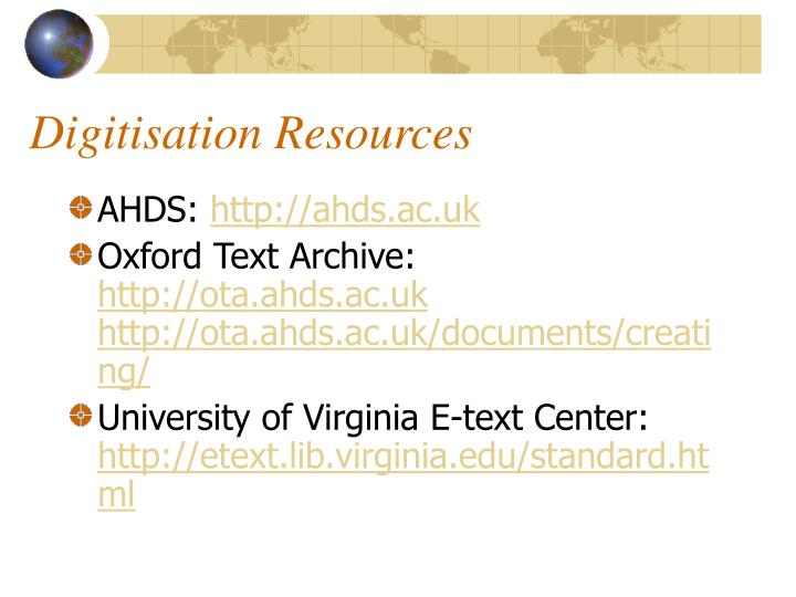 Digitisation Resources