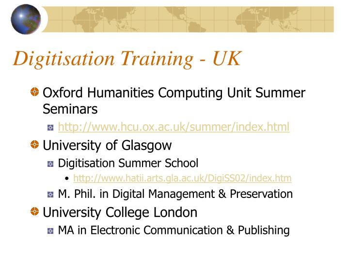 Digitisation Training - UK