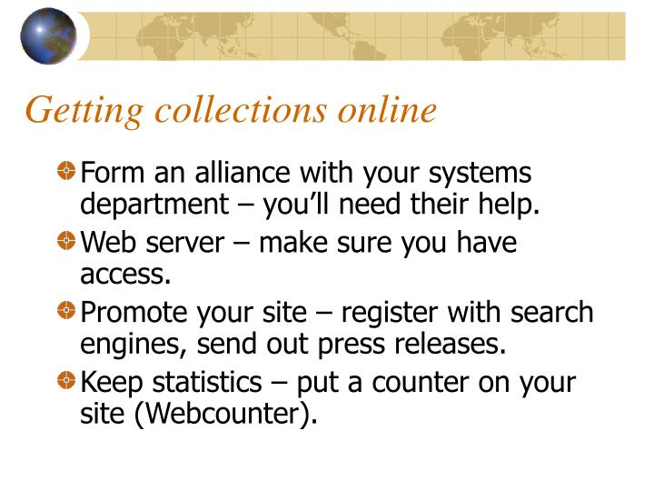 Getting collections online
