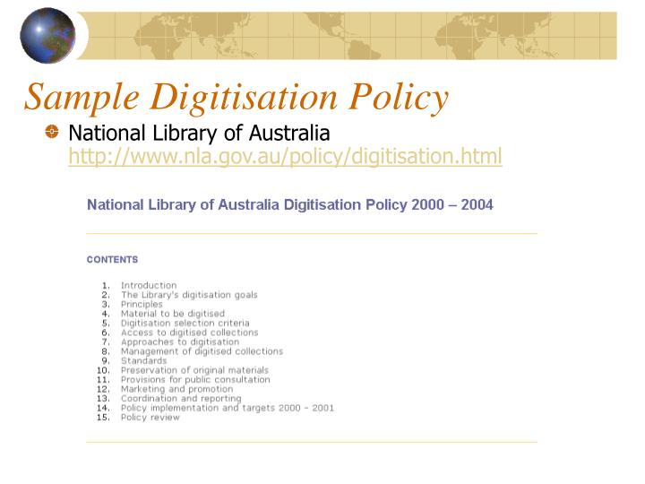 Sample Digitisation Policy