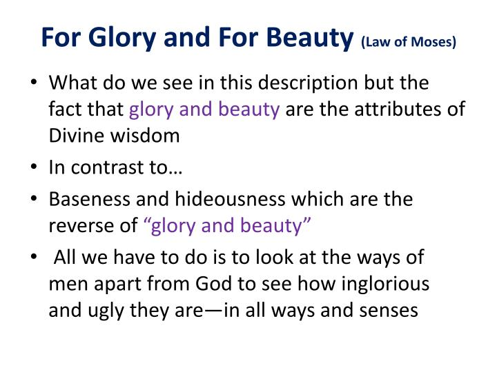 For Glory and For Beauty