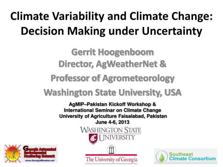 climate variability and climate change decision making under uncertainty n.