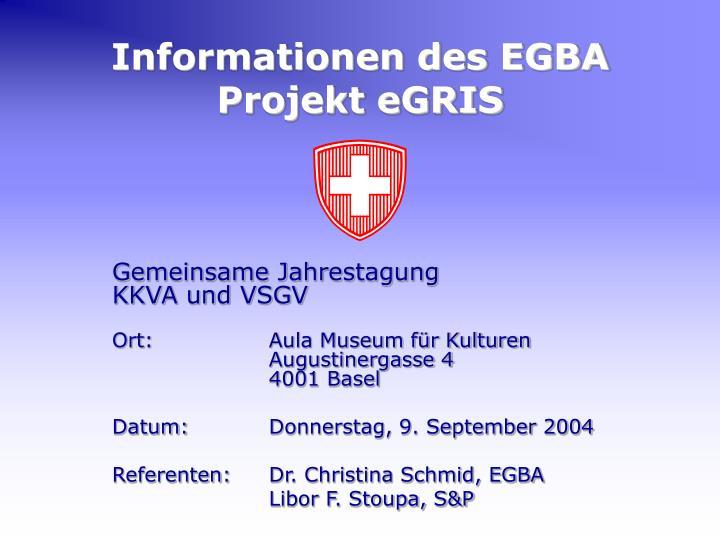 Informationen des egba projekt egris