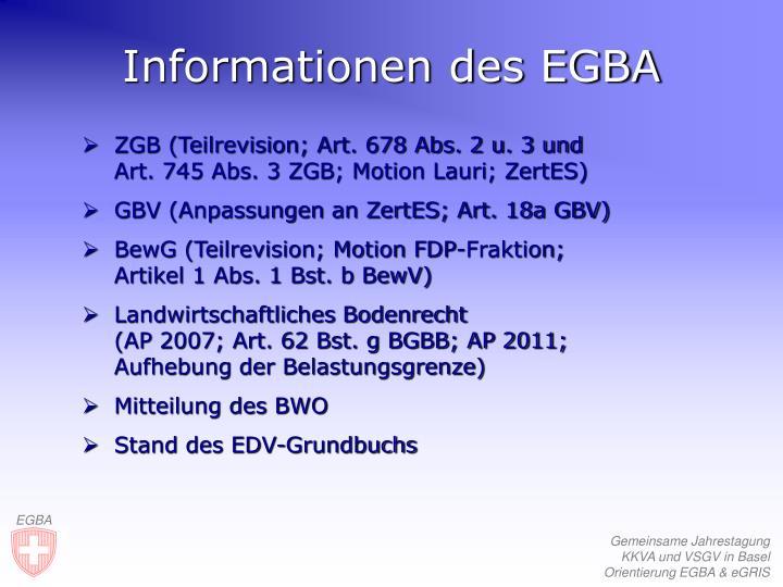 Informationen des EGBA