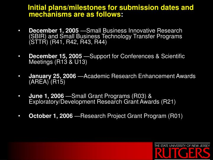 Initial plans/milestones for submission dates and mechanisms are as follows