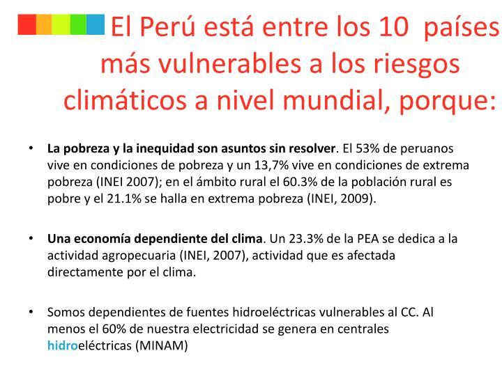 El Perú está entre los 10  países más vulnerables a los riesgos climáticos a nivel mundial, porque: