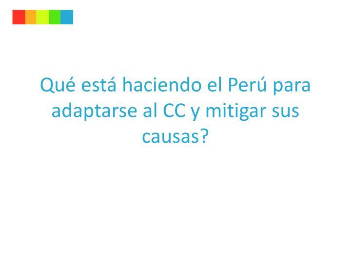 Qué está haciendo el Perú para adaptarse al CC y mitigar sus causas?