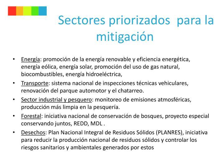 Sectores priorizados  para la mitigación