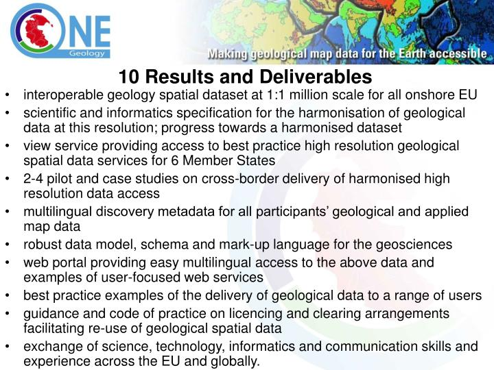 10 Results and Deliverables