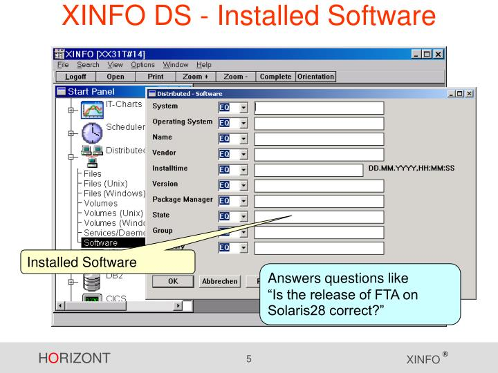 XINFO DS - Installed Software