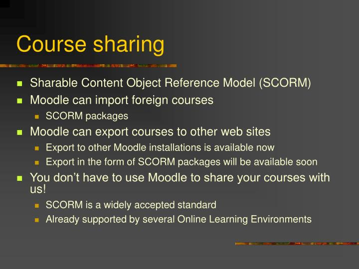 Course sharing