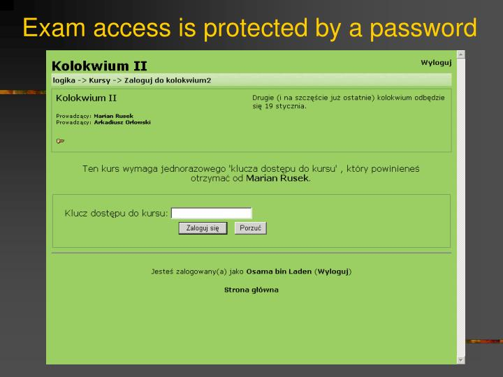 Exam access is protected by a password