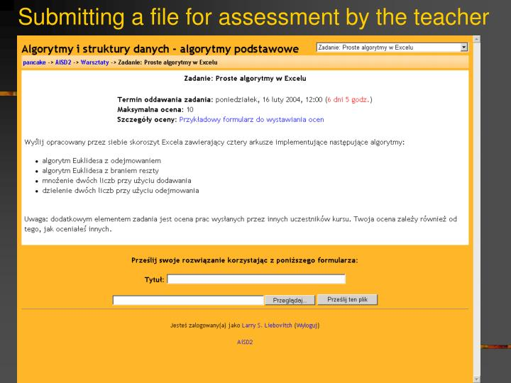 Submitting a file for assessment by the teacher