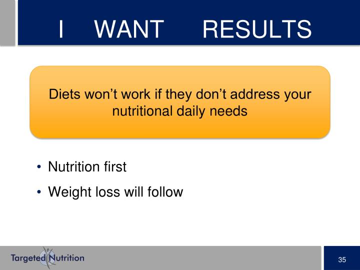 I WANT RESULTS