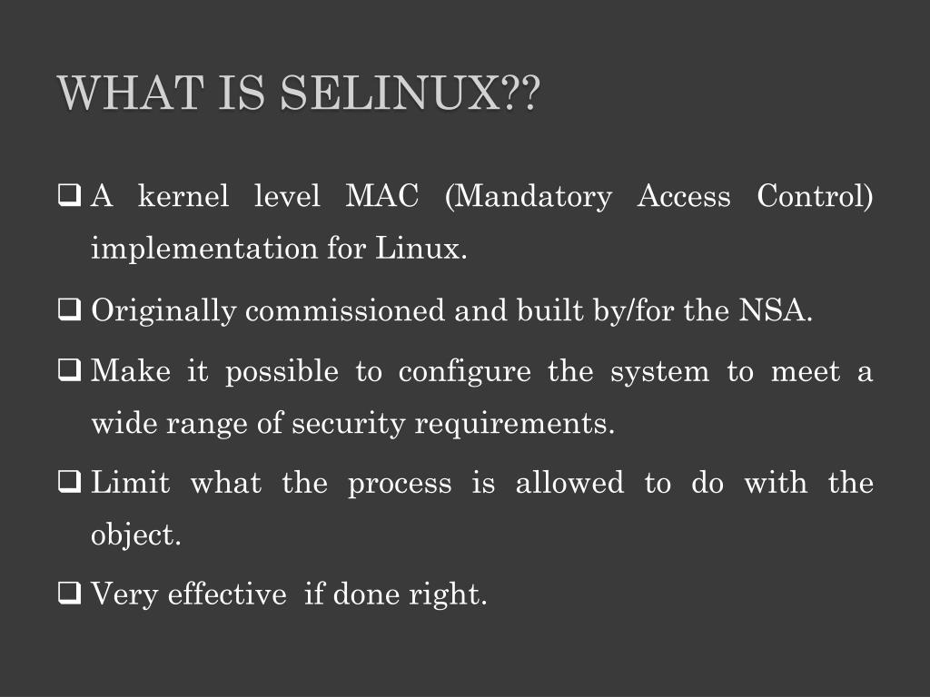 PPT - SELinux (Security-Enhanced Linux) PowerPoint