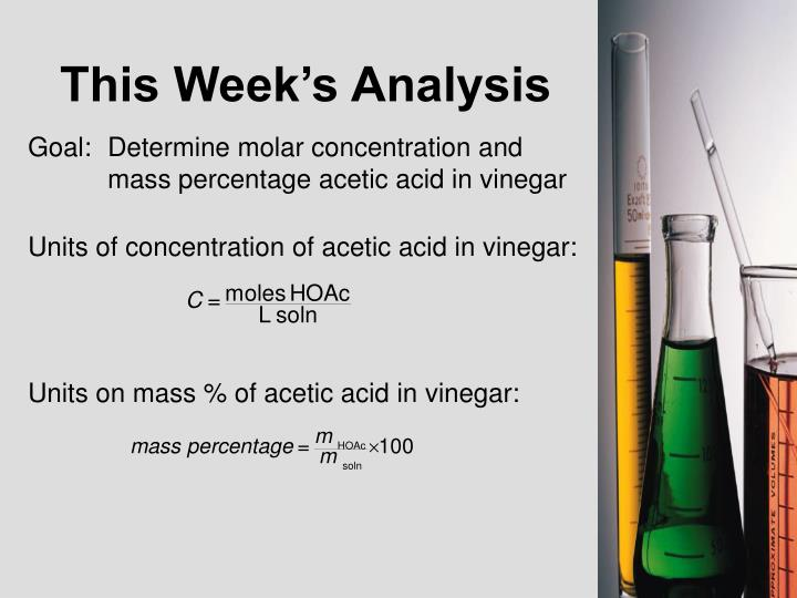 determination of acetic acid in vinegar lab report Determination of % acetic acid in vinegar im ask to determine the %hac by this procedure: 1] 25 ml of commercially available vinegar was diluted to make 250 ml 50 ml aliqout was used for titration using phenolphthalein indicator 01 n naoh was used and the volume used to reach the end point was 30ml.