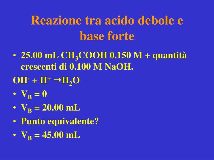 Reazione tra acido debole e base forte