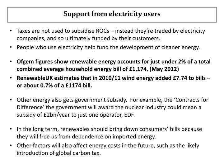 Support from electricity users