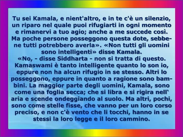 Tu sei Kamala, e nient'altro, e in te c'è un silenzio, un riparo nel quale puoi rifugiarti in ogni momento e rimanervi a tuo agio; anche a me succede così. Ma poche persone posseggono questa dote, sebbe-ne tutti potrebbero averla». «Non tutti gli uomini sono intelligenti» disse Kamala.