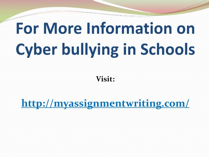 problem solution essay cyber bullying Cyber-bullying has been a problem for a very long time due to the development of our technology today, cyber-bullying has become one of the most difficult issues to resolve in our society.